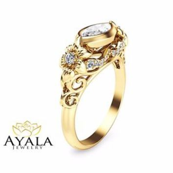 14K Yellow Gold Leaf Ring, Yellow Gold Diamond Engagement Ring, Affordable Rings