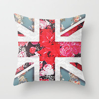 God save the Queen | Elegant girly red floral & lace Union Jack  Throw Pillow by Girly Trend | Society6
