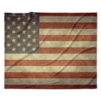 "Bruce Stanfield ""Flag of US Retro"" Rustic Fleece Throw Blanket"