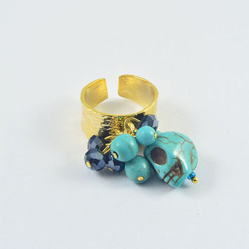 SALE 65% BEDAS RINGS :22 carat of Gold plated brass ,extandable unisize  shinny smooth ring with glass beads, evil eye or skull on it model
