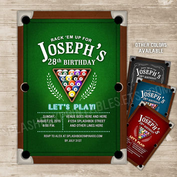 Pool Party Invitation Billiards Invitations Billiard Balls Invite Table Bachelor 21st 30th 40th 50th