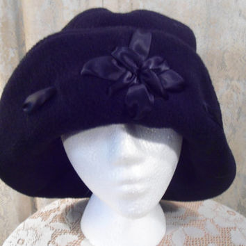 Size Medium Turned up Brim Black Hat with Black Ribbon Flower Pattern Downtown Abbey Hat Cloche Hat Floppy Hat