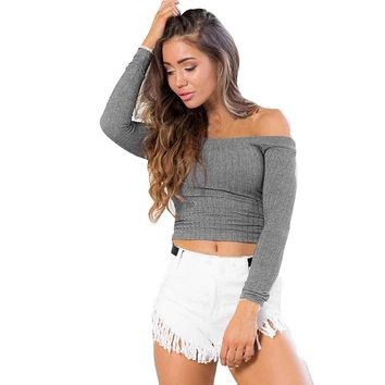 2017 Autumn Winter Women Basic Pullover Sweaters Female Sexy Off The Shoulder Strapless Tight Knitting Casual Jumper Sweater