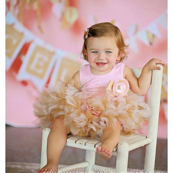 Pink and Gold Twinkle Tutu Dress Outfit for Baby Girls Birthday Party