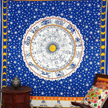 Meditation Hipppie Hippy Tapestries, Meditation Zodiac Wall Hanging, Modern Astrology Tapestry, Indian Mandala Tapestries Coverlet Throw