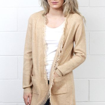 Frayed Edge Long Knit Cardigan w/ Pockets {Oatmeal}