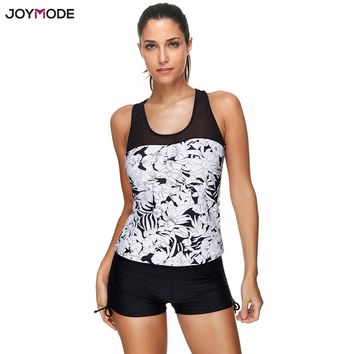 JOYMODE 2018 Sexy Summer Bikini Women Swimsuit Swimwear Racerback Tankini  Floral print push up Set with Boyshort Bathing Suits