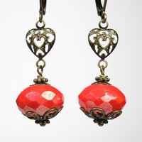 Vintage Style Earrings, Coral Rondelles, Czech Glass, Filigree Hearts, Romantic Jewelry, Victorian Style, Antiqued Brass, Womens Accessories