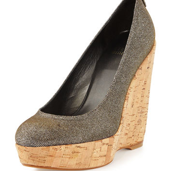 Corkswoon Metallic-Fabric Wedge Pump, Pyrite - Stuart Weitzman