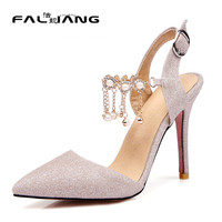 Big Size 11 12 13 14 15 16 Wedding Thin Heels Slingbacks Crystal Buckle Women's Shoes Extreme High Heels Pumps Woman For Women