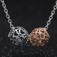 ROCKART 925 Sterling Silver Open Your Heart Charms Beads for Jewelry Making Fits Pandora Bracelets DIY Original Rose Gold Color