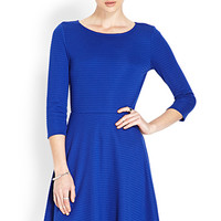 FOREVER 21 Tonal Striped Skater Dress Royal