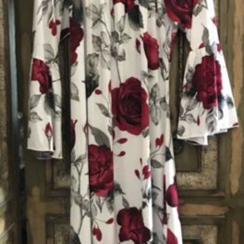 Red Rose Floral Print Swing Dress Sz L