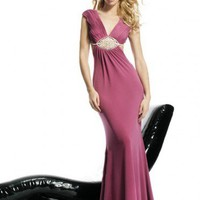 V-neck Ruffles Floor-length Chiffon Prom Dresses