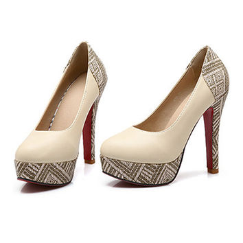 Super High Heel Plus Size Chromatic Platform Low-cut Women Shoes  beige