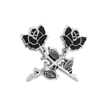 Crossed Roses Pin - Silver