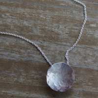 Silver Disc Necklace, Hammered Silver Pendant