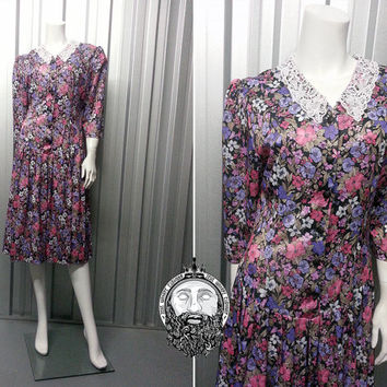 Vintage 80s 90s Grunge Floral Midi Dress Peter Pan Lace Collar Three Quarter Sleeve 3 4 Length Puff Shoulders Courtney Love Tea Teadress