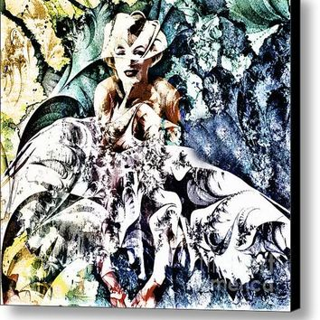 Marilyn Monroe And The White Dress - Grunge Canvas Print / Canvas Art By Georgiana Romanovna