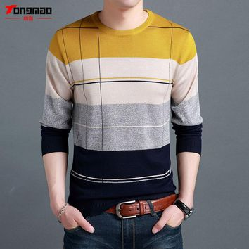 Autumn Winter New Men Clothing Warm Cashmere Wool Sweater Men Casual Long Sleeve O-Neck Pullover Men Fashion Striped Pull Homme