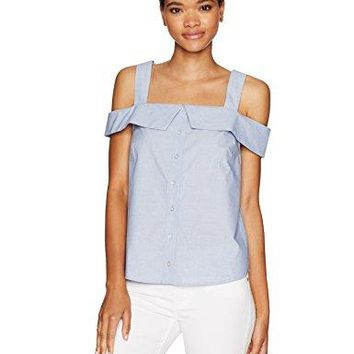 kensie Womens Oxford Shirting Cold Shoulder Top