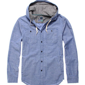 Modern Amusement Blue Hooded Long Sleeve Woven Shirt at PacSun.com