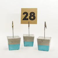 Photo Holders, Blue Place Card Holder, Cement Photo Holder, Table Number Holder, Modern Table Number Stand, Table Number Signs - Set of 3