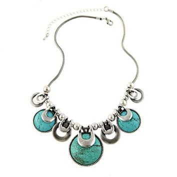 Choker Necklace For Women 2016 New Fashion Ethnic Vintage Accessories Natural Stones Chunky Chains Statement Necklace Jewelry