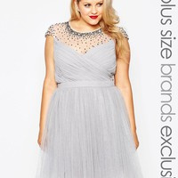 Little Mistress Plus | Little Mistress Plus Tulle Prom Dress With Embellished Sheer Detail at ASOS