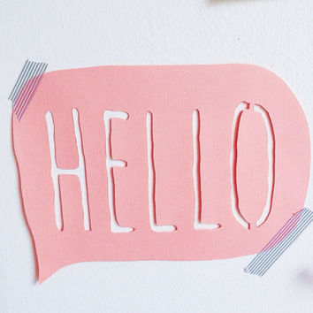 Hello paper cut wall sign / hello banner / welcome banner