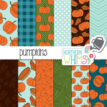 Pumpkin Digital Paper - Fall seamless patterns - pumpkins and pie in orange, green, brown & blue - pumpkin scrapbook paper - commercial use