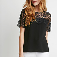 Eyelash Lace-Paneled Blouse