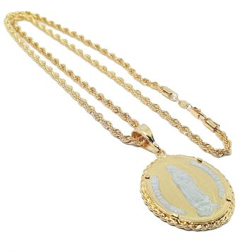 """Gold Overlay Guadalupe / St Jude Medallion  Rope Necklace, 26"""""""