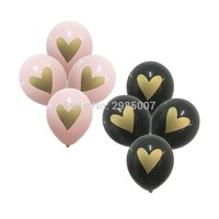 12pcs/lot  gold heart printed balloon Wedding balloons Bridal Shower  Engagement party Decor  Baby Girl Shower decorations