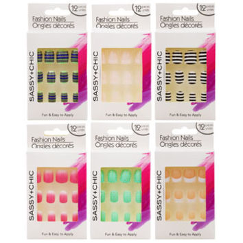 Bulk Sassy+Chic Glue-On Artificial Fashion Nails, 12-pc. Sets at DollarTree.com