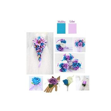 Malibu Turquoise, Lilac Purple, and White Quality Artificial Bouquet, Corsage, Boutonniere