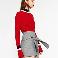 Slim Red Knitted Sweater