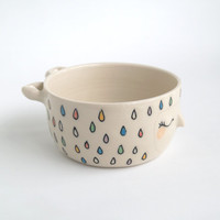 Little bear ramekin, Bearekin, rainbow rain pattern.