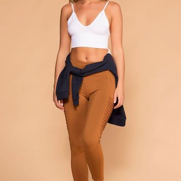 CoCo Camel Moto High Waisted Workout Leggings