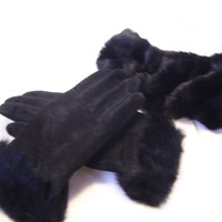 Rich Black Suede Gloves Set Genuine Leather Trimmed with Faux Fur at Wrist and Match Headband Size L Winter Resort Cruise Wear