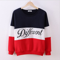 2017 Trending Fashion Women Mixed Color Sports Hoodies Long Sleeve Round Necked Alphabets Words _ 10942