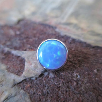 Light Blue Fire Opal 6mm Dermal Head Piercing 6mm Stone Piercing Body Jewelry