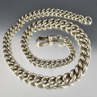 Antique English Silver Albert Watch Chain Necklace
