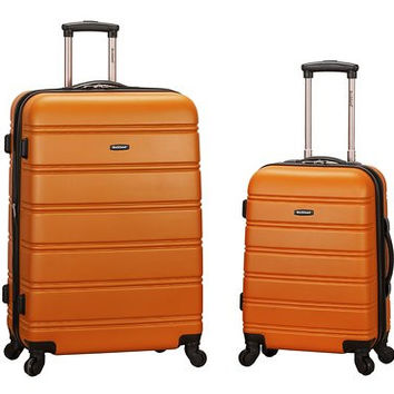 "F225-ORANGE 20"", 28"" 2Pc Expandable Spinner Luggage Set"