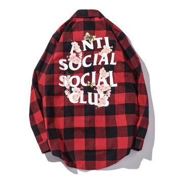 KUYOU Anti Social Social Club Cherry blossom shirt Red 006