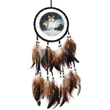 Antique Oil Painting Wolf Dream Catcher Handmade Dream Catcher Net with Feather Bead Wall Hanging Ornament Craft