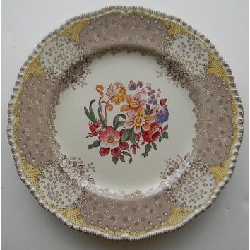 """8"""" Vintage Brown & Red Bi Color Transferware English Polychrome Plate Royal Doulton Tulips Roses Flowers"""