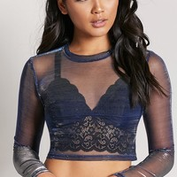 Sheer Metallic Knit Crop Top