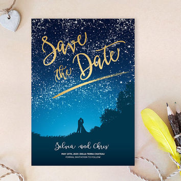 Save the date cards printed | Starry night save the dates for wedding | Gold and blue wedding | Romantic bride and groom invitations