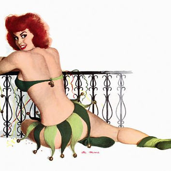 Pin Up Girl Redhead In Jester Costume Poster